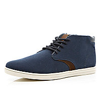 Navy canvas contrast panel mid tops