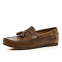 Brown woven tassel loafers