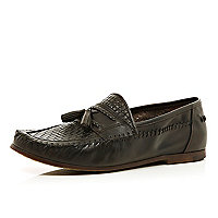 Dark brown woven  tassel loafers