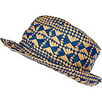 Blue diamond woven pattern trilby hat