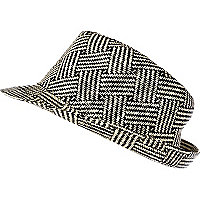 Black and white cross hatch woven trilby hat