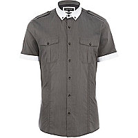 Black subtle stripe contrast trim shirt