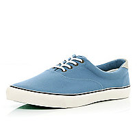 Light blue canvas lace up trainers