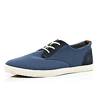 Blue contrast panel canvas plimsolls