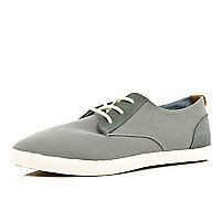 Grey contrast panel canvas plimsolls