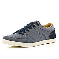 Blue contrast panel lace up trainers
