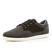 Brown denim contrast panel lace up plimsolls