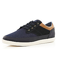 Navy denim contrast panel lace up plimsolls