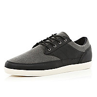Black denim contrast panel lace up plimsolls