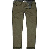 Khaki green turn up slim chinos