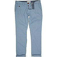 Blue pastel turn up slim chinos