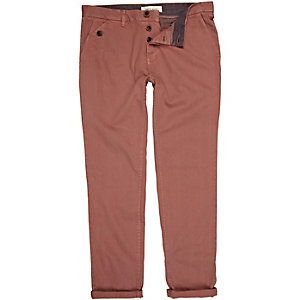 Dark pink turn up slim chinos