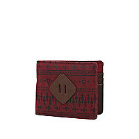 Red aztec print canvas wallet