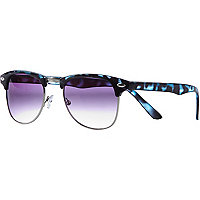 Blue tortoise shell retro sunglasses