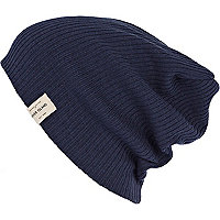 Blue rib label trim beanie hat