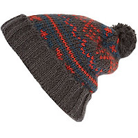 Grey fairisle pattern knit beanie hat