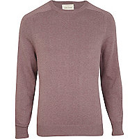 Purple knitted elbow patch jumper