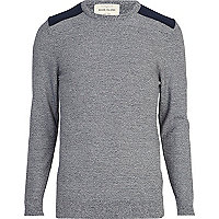 Navy fleck contrast shoulder patch jumper