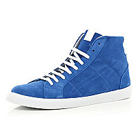 Blue suede high tops
