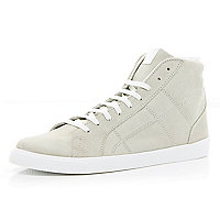 White suede high top trainers