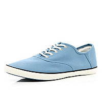 Light blue canvas lace up plimsolls