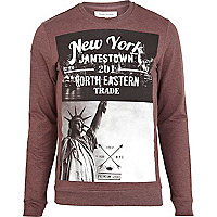 Red marl New York print sweatshirt