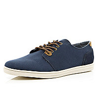 Navy contrast trim lace up plimsolls