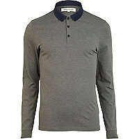 Brown contrast collar long sleeve polo shirt