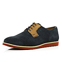 Navy flat sole lace up shoes