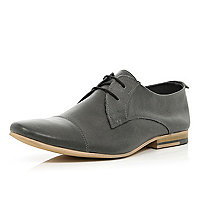 Grey stitched panel lace up formal shoes