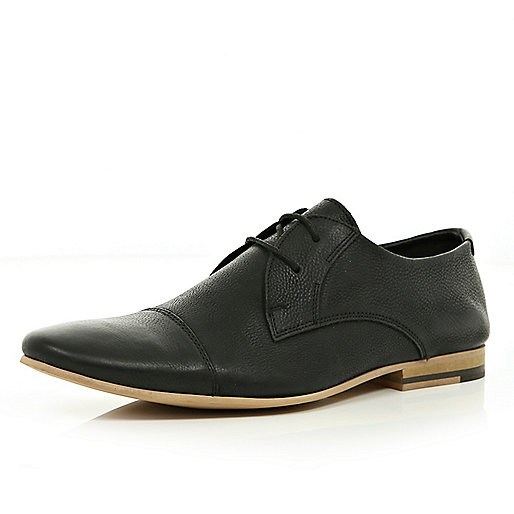 Black round toe formal lace up shoes