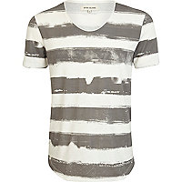 Ecru painted stripe print t-shirt
