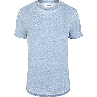 Blue burnout crew neck short sleeve t-shirt