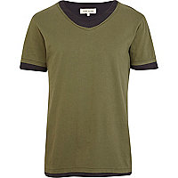 Green double layer scoop neck t-shirt