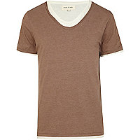 Brown double layer scoop neck t-shirt
