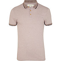 Pale purple jacquard trim polo shirt