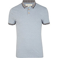 Blue short sleeve patterned trim polo