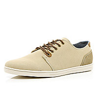 Ecru contrast trim lace up plimsolls