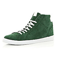 Green suede high tops