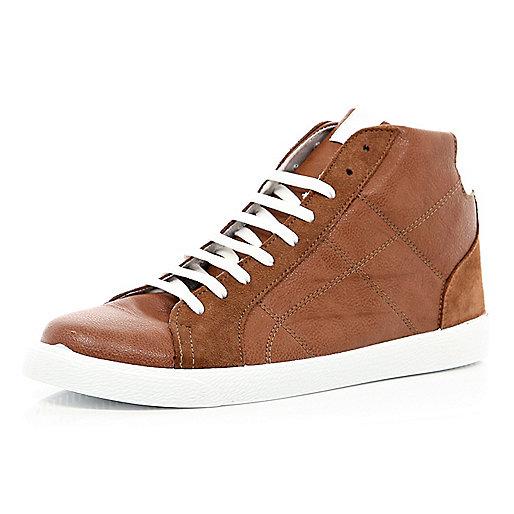 Brown contrast panel high top sneakers
