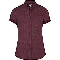 Red small tie print short sleeve shirt