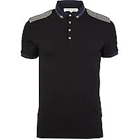 Black shoulder patch polo shirt