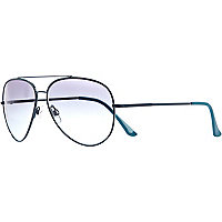 Grey contrast tip aviator sunglasses