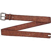 Light brown distressed belt