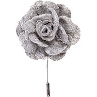Grey soft fabric flower lapel pin