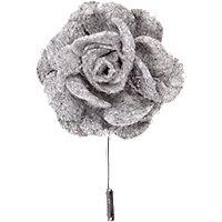 Grey soft fabric flower lapel pin