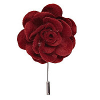 Dark red soft fabric flower lapel pin