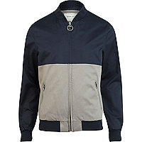 Navy blue colour block bomber jacket