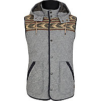 Blue aztec panel chambray quilted gilet
