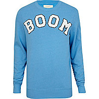 Blue boom print sweatshirt